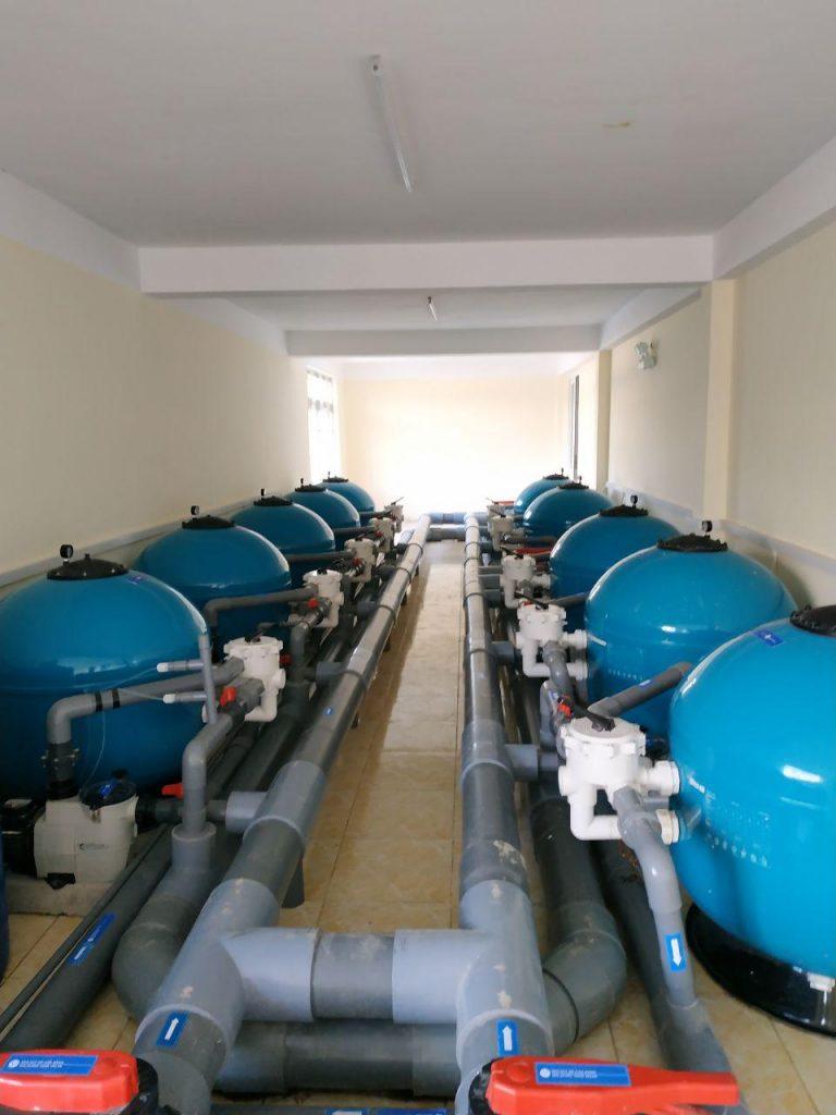Phòng máy xử lý nước hồ bơi 2200 m3 Hồ bơi tập luyện Lục quân Đồng Nai