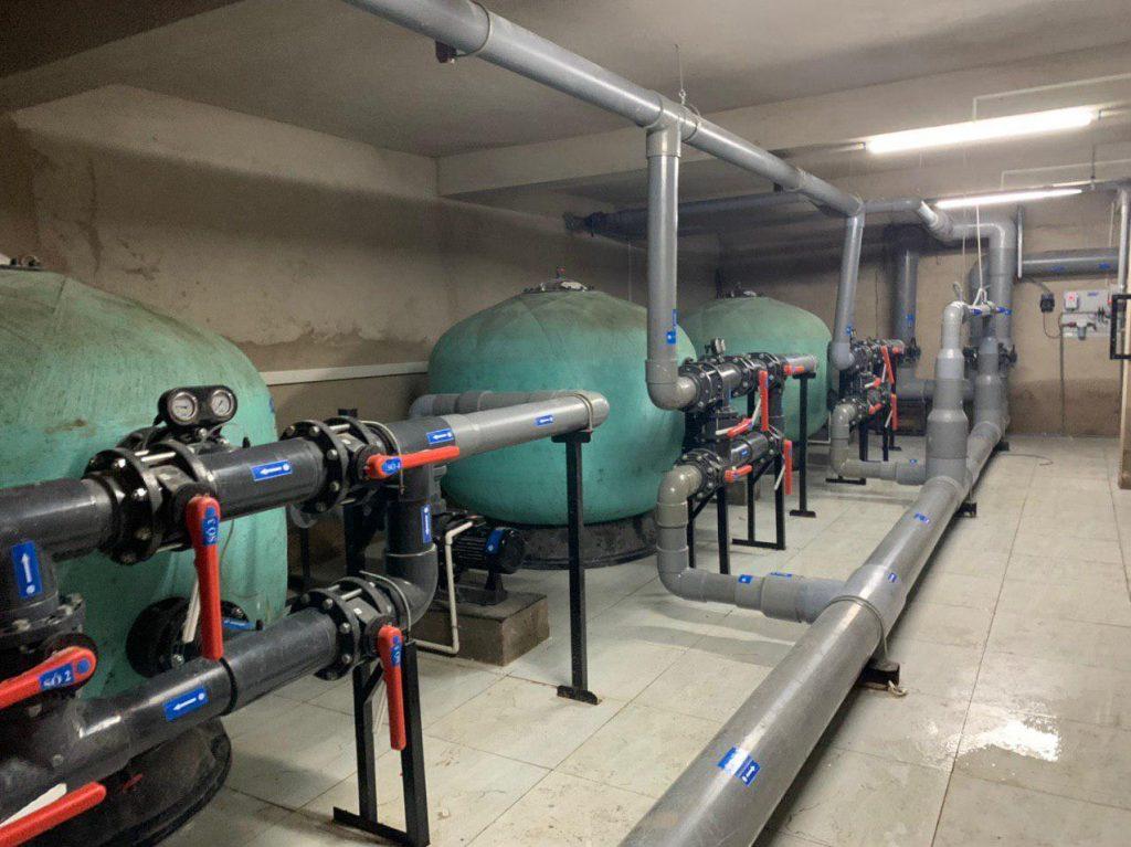 Phòng máy xử lý nước hồ bơi tập luyện Bộ Công An