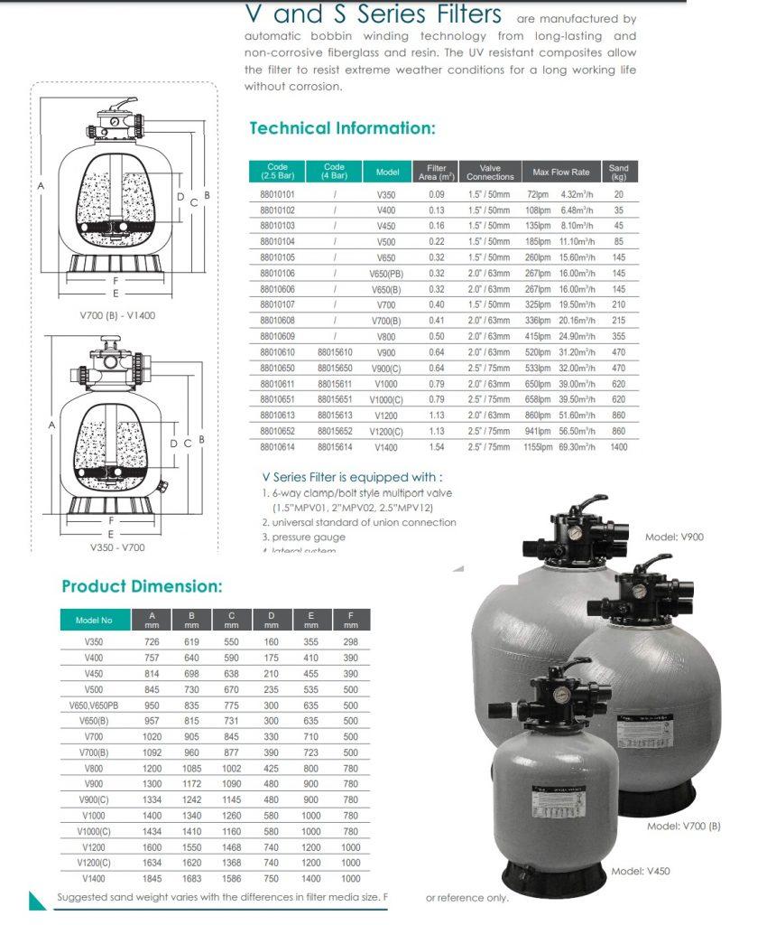 Thông số kỹ thuật bình lọc Emaux V700