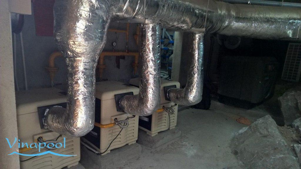 Phòng máy làm nóng nước hồ bơi băng gas /LPG