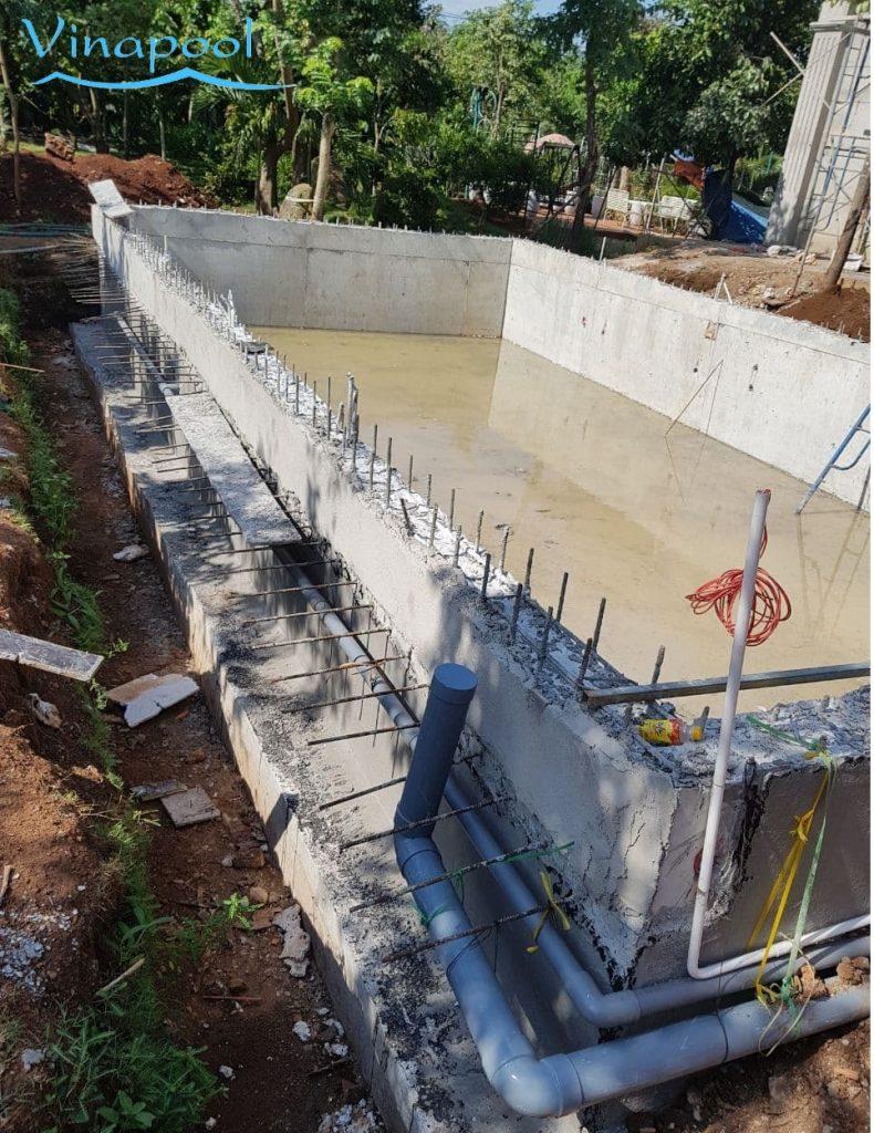 Hình ảnh quá trình thi công hệ thống ống hồ bơi