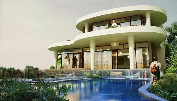 Biệt thự 2 tầng với không gian bơi lội hiện đại