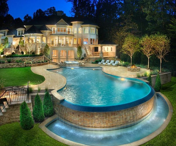 Mẫu thiết kế biệt thự có hồ bơi mở tân cổ điển