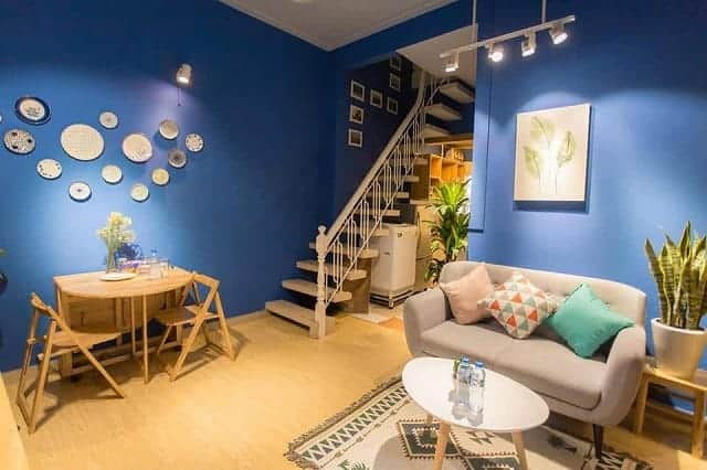 Bức tường màu xanh làm cho không gian càng trở nên nổi bật