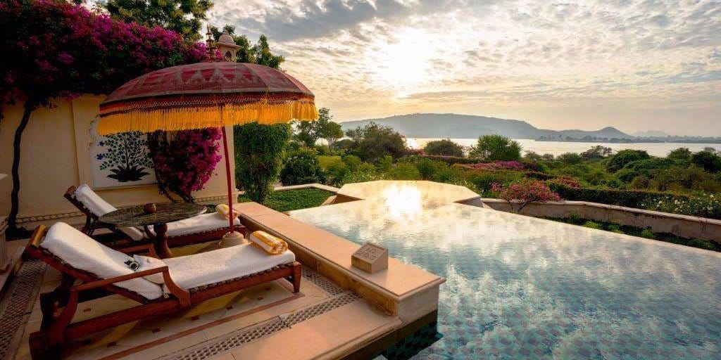 VianPool in-the-luxuriously-over-the-top-kohinoor-suite-theres-a-large-private-pool-water-is-a-theme-here-with-multiple-pools-and-fountains-reflecting-light-just-like-the-surrounding-lake-pichola