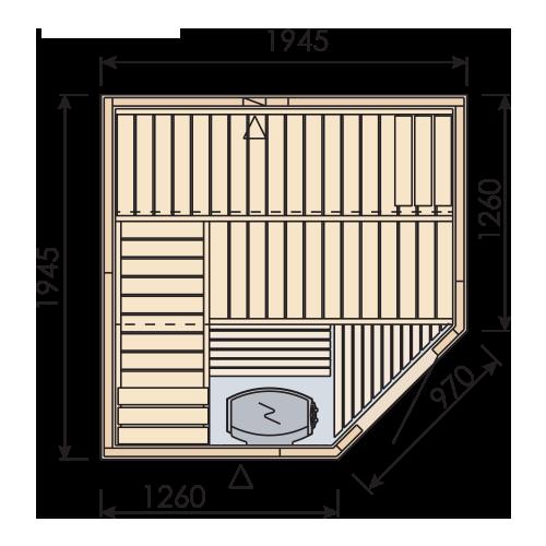 Emaux spruce wood sauna room